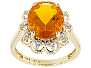 Orange Fire Opal 14k Yellow Gold Ring 2.77ctw