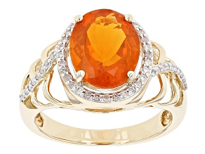 Orange Fire Opal 14k Yellow Gold Ring 2.25ctw