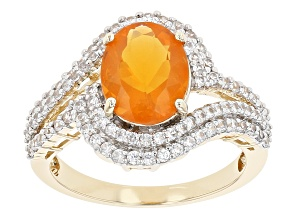 Orange Fire Opal 14k Yellow Gold Ring 2.26ctw