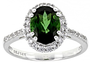Oval Green Tourmaline Rhodium Over 14k White Gold Ring 2.00ctw