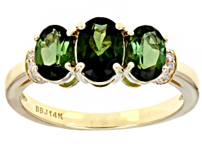 Oval Green Tourmaline 14k Yellow Gold 3-Stone Ring 1.50ctw