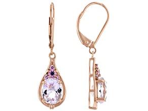 Pink Kunzite 14k Rose Gold Earrings 3.15ctw