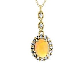Honey Ethiopian Opal 14k Yellow Gold Pendant With Chain 0.90ctw