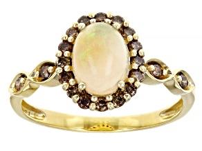 Honey Ethiopian Opal 14k Yellow Gold Ring 0.93ctw
