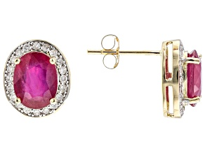 Red Mahaleo® Ruby 14k Yellow Gold Earrings 3.87ctw