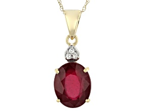 Red Mahaleo® Ruby 14k Yellow Gold Pendant With Chain 2.83ctw