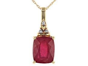 Red Mahaleo® Ruby 14k Yellow Gold Pendant With Chain 3.77ctw