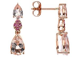 Pink Morganite And Pink Tourmaline 14k Rose Gold Dangle Earring 2.70ctw