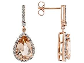 Peach Cor De Rosa Morganite 14k Rose Gold Earrings 4.65ctw