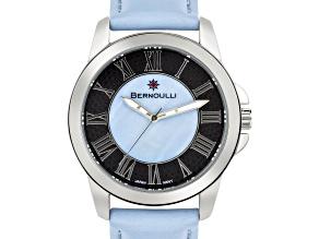Bernoulli Faun Ladies Watch Genuine Leather Strap Light Blue Pearl Dial Center