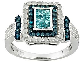 blue, aqua and white diamond silver ring 1.06ctw