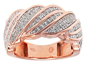 Diamond 14k Rose Gold Over Sterling Silver Band .50ctw