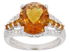 Yellow Citrine Sterling Silver Ring 4.29ctw