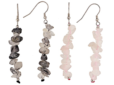 Multi-Stone Sterling Silver Dangle Chip Earrings Set Of 10 Pairs
