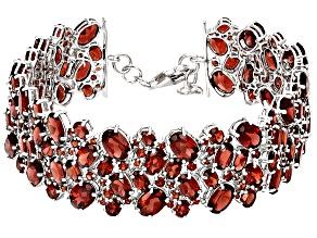 Red Garnet Sterling Silver Bracelet 44.51ctw