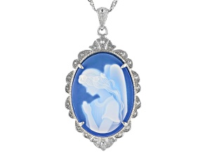 Blue Agate Angel Cameo Rhodium Over Sterling Silver Pendant With Chain