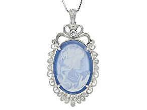 Blue Carved Agate Sterling Silver Cameo Pendant With Chain .34ctw