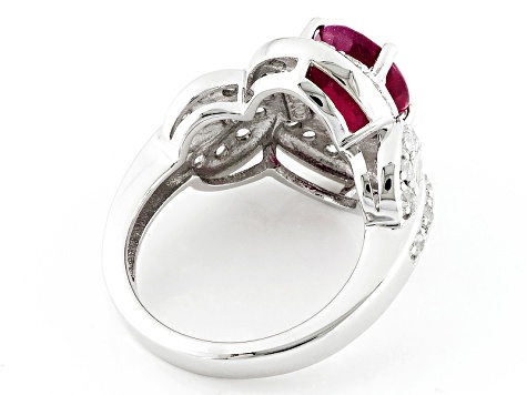 Mahaleo Ruby Sterling Silver Ring 3.31ctw