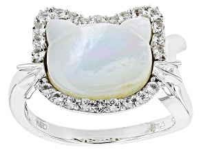 White Mother Of Pearl Sterling Silver Ring .23ctw