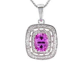 Pink Lab Created Sapphire Sterling Silver Pendant With Chain 2.01ctw