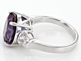 Color Change Lab Created Purple Sapphire Sterling Silver Ring 6.28ctw