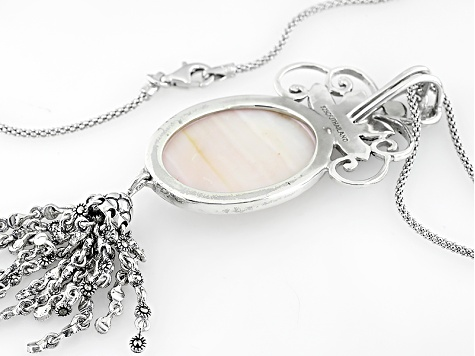 Pink Shell Sterling Silver Cameo Pendant With Chain