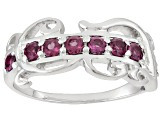 Raspberry color Rhodolite Sterling Silver Band Ring 1.28ctw