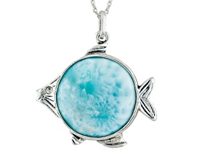 Blue Larimar Sterling Silver Fish Pendant With Chain