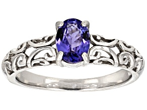 Blue Tanzanite Sterling Silver Solitaire Ring .63ct
