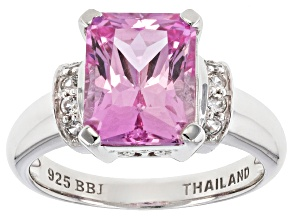 Pink Lab Created Sapphire Sterling Silver Ring 4.17ctw
