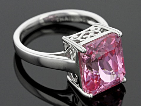 Pink Lab Created Sapphire Sterling Silver Ring 7.01ct