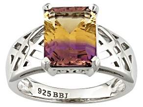 Bi-Color Ametrine Sterling Silver Solitaire Ring 3.15ct