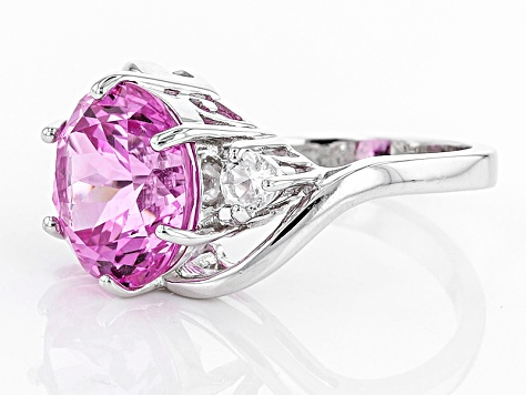 Pink Lab Created Sapphire Sterling Silver Ring 8.26ctw