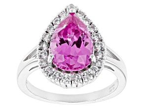 Pink Lab Created Sapphire Sterling Silver Ring 3.80ctw