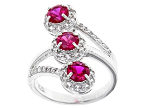 Red Lab Created Ruby Sterling Silver 3-Stone Ring 2.07ctw