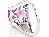 Pink Lab Created Sapphire Sterling Silver Ring 8.71ct