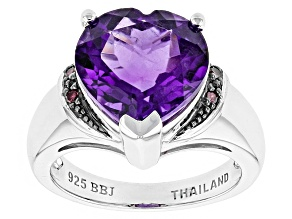 Purple Amethyst Sterling Silver Ring 4.53ctw