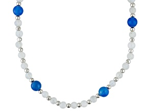 Blue Chalcedony Rhodium Over Sterling Silver Strand Necklace