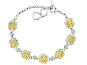 Yellow Citrine And White Zircon Sterling Silver Bracelet 1.58ctw