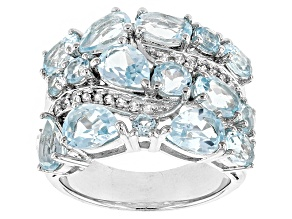 Sky Blue Topaz Sterling Silver Ring 6.35ctw