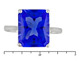 Blue Yag Sterling Silver Ring 3.82ct