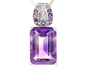 Purple Amethyst Sterling Silver Pendant With Chain 7.22ctw