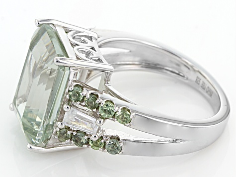 Green Prasiolite Sterling Silver Ring 6.99ctw