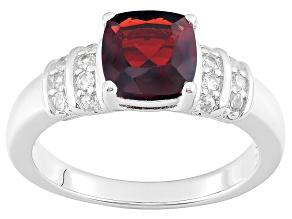 Red Garnet Sterling Silver Ring 2.08ctw