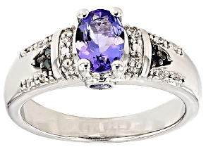 Blue Tanzanite Sterling Silver Ring .95ctw