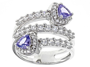 Blue Tanzanite Sterling Silver Bypass Ring 2.08ctw