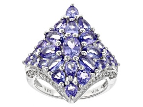 Blue Tanzanite Sterling Silver Ring 3.84ctw