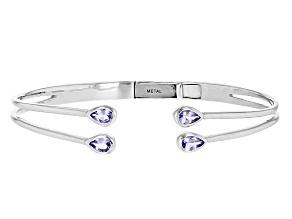 Blue Tanzanite Sterling Silver Hinged Bangle Bracelet 1.60ctw