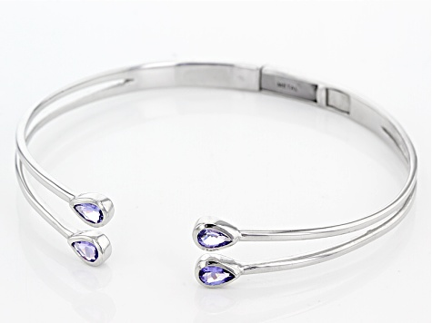 Blue Tanzanite Sterling Silver Hinged Bangle Bracelet 1.60ctw
