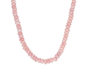 Pink Peruvian Opal Sterling Silver Bead Necklace